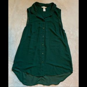 Dark Green Button Down Sleeveless Shirt